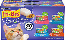 New listing Purina Friskies Canned Wet Cat Food 40 ct Seafood&Chicken Pate Variety Pack Usa