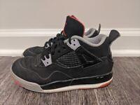 Nike Air Jordan Retro 4 Bred Black Red Boys Sz 13c 308499-089