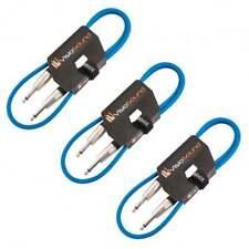 3 x Câble guitare Jack à Jack mono 6,35mm / Instrument / Câble patch / 1m Bleu