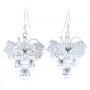 Sterling Silver Grape Cluster Dangle Earrings - 925 Pierced