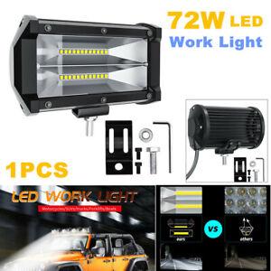 72W LED Work Fog Light Spotlight Flood Beam Lens Car ATV Truck Off Road for Jeep
