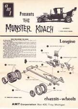 Vintage instruction sheet only for THE MUNSTER COACH from 1964 AMT model kit.