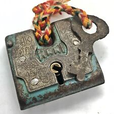 Authentic Antique Lock & Key Padlock - Ca. 1890-1950 India Brass Iron Old Tool