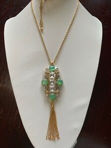NEW NWOT Henri Bendel Green Frosty Crystal & CZ Tassel  Pendant Necklace
