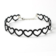 Connecting Black Heart Choker, Open Design - Lolita Gothic Goth Punk Jewelry