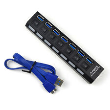 7 Port USB 3.0 Hub On/Off Switches Splitter AC Adapter Cable for PC Laptop