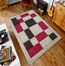 Beige/Red Havana 90 Rug carpet Thick 12MM Polypropylene Non Shed Soft Dust Proof