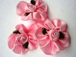 "60 Satin Ribbon Rose 1"" Ruffle Flower Bow/Pearl Bead Trim/Wedding F6-Pick Color"