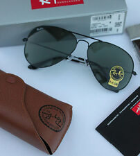 NEW AUTHENTIC RAY BAN AVIATOR RB3025 L2823 58MM GREEN G-15 LENS BLACK FRAME