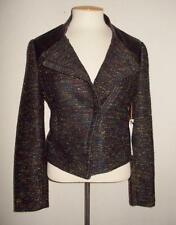 WILLOW & CLAY SIZE SMALL BLACK MULTI-COLOR TWEED BOUCLE FAUX LEATHER TRIM JACKET