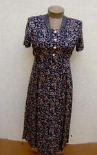 BETSY LAUREN Women's Petites 6P Maxi Dress Scoop Blue Floral Layers Short Sleeve