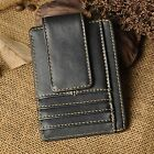 Mens Womens Genuine leather Money Clip Card Case Holder Slim Wallet Front Pocket