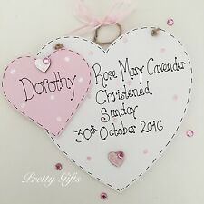 Personalised Large Christening Heart Plaque Handmade Goddaughter Godson Gift