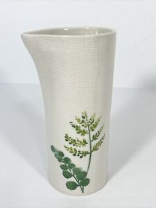 Pier 1 Pottery Pour pitcher Stoneware Vase Table ivory green leaves Asymmetrical