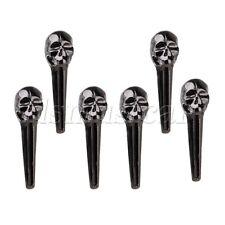 Black 8mm Head Metal Acoustic Guitar Bridge Pins End Pin Pack of 6
