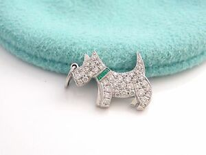 Tiffany & Co Platinum Diamond Green Emerald Dog Charm 4 Necklace Bracelet