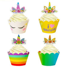 24Pcs Magical Unicorn Rainbow Cake Topper Cupcake Wrappers Birthday Party Decor