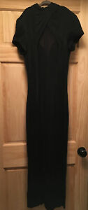 Vtg Cache Long Bodycon Maxi Dress ?2-4 Black Sheer Panel Plunge Neckline