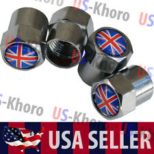 England Flag Logo Valves Stems Caps Covers Chromed Wheel Union Jack Emblem USA