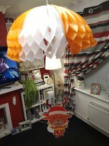 Very Cute Raindeer Card & Paper Parachute Hanging Christmas Decoration
