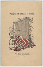 1920s Mohican Forest Printer 'Indian Weaving' Westfield Massachusetts Card