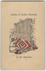 1920s Mohican Forest Printer 'Indian Weaving' Westfield Massachusetts Adv. Card