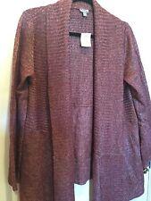 J Jill XL Cascade Open Front Wool Blend Cardigan Sweater Garnet Heather NWTs
