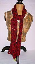 "Scarf  62"" x 6"" multi color  Reds w/ flower button  Soft acrylic yarn"