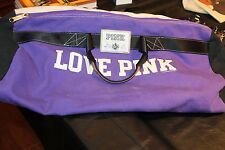 Victoria's Secret PINK Purple Ivory Woven Canvas Duffle Overnight Bag strap Love