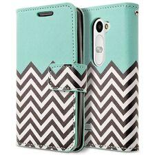 LG Leon C40 Case, PU Leather Folio Flip Book Wallet Pouch Case Cover - Teal Wave