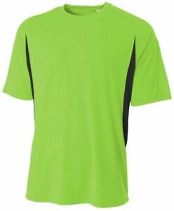 A4 Youth Short Sleeve Color Block Crew Shirt LIME GREEN   BLACK LG