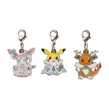 Pikachu Charmander Sylveon Metal Charm Set Pokemon Frosty Christmas Japan