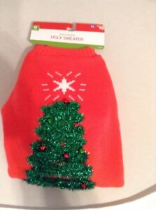 Pet (Dog) Costume Christmas Sweater Red with Green Christmas Tree Size XL