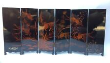 "Minh Chanh Vietnam Hand-painted 6-panel 17x8"" Screen Koi & Shorline 2-sided RARE"