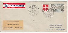 LETTRE  PREMIER VOL AIR FRANCE  PARIS/ BERLIN 1960 CARAVELLE