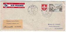 LETTRE  PREMIER VOL AIR FRANCE  PARIS/ BERLIN 1960 CARAVELLE
