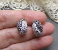18K White Gold Pave Diamond Demi Huggie Hoop Earrings Omega Backs  Black