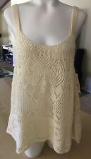 Wild Pearl Tank Top Crochet Knit Ivory See Through Womens Medium