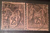 2 Timbres France Classique Sage N°91 Type II Oblitérés Cachet à date 1878