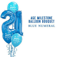Party Supplies Decorations Birthday Blue 21st Numeral Foil Balloons Bouquet