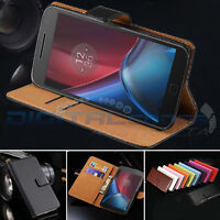 Premium Genuine Leather Wallet Case Cover for Motorola Moto G5 / G5 Plus G4 Plus