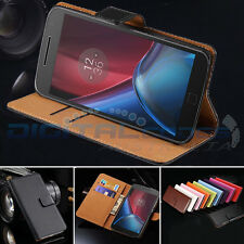 Premium Genuine Leather Wallet Case Cover for Motorola Moto G5 / G5 Plus G4 Plus