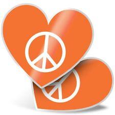 2 x Heart Stickers 7.5 cm - Orange Peace Symbol Camper Van Surf  #5611