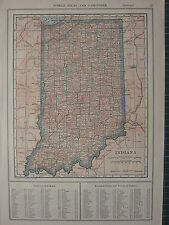 1926 MAP ~ INDIANA contee principale città Franklin CLAY Clark Wells Warrick