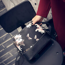 Womens Celebrity Floral Tote Messenger Shoulder Bag Leather Cross Body