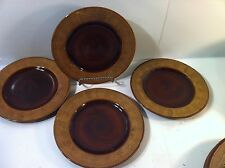 JOSEPH ABBOUD--HONEY BARK--SET OF 4 SALAD PLATES--2 TONE BROWN-SHIPS FREE--NICE
