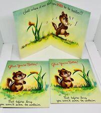 Vintage Greeting Cards New Unused Get Well Soon Humorous Chipmunk Garden