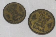 Morocco 10 and 20 Franc Coins MAROC - 1951? Marked1371