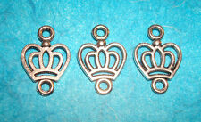 Connector Beads Charm Jewelry Findings Lot of 3 Crown Connectors Queen Royalty
