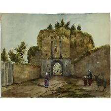Porte St Malo Dinan Brittany 1878 Traditional Landscape Watercolour Painting